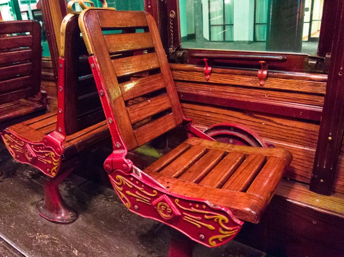 The beautiful wooden seats. The back rests move to either side so the seat can face forward or backwards.