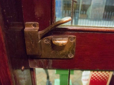 Even the window latches are brass.