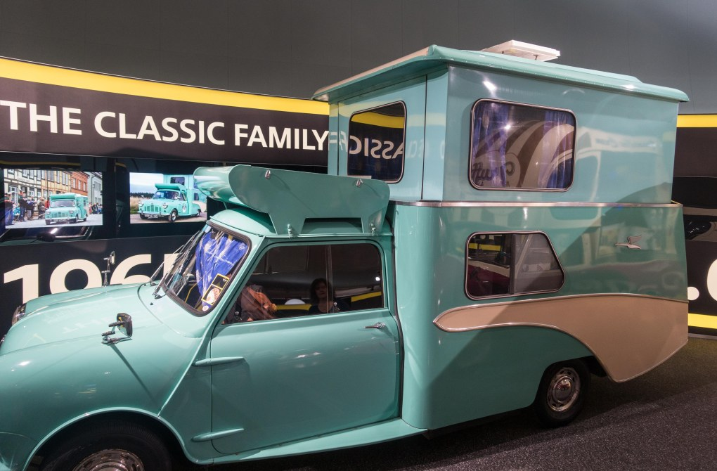 A mini Cooper camper. The pop-up supposedly holds 4 people.