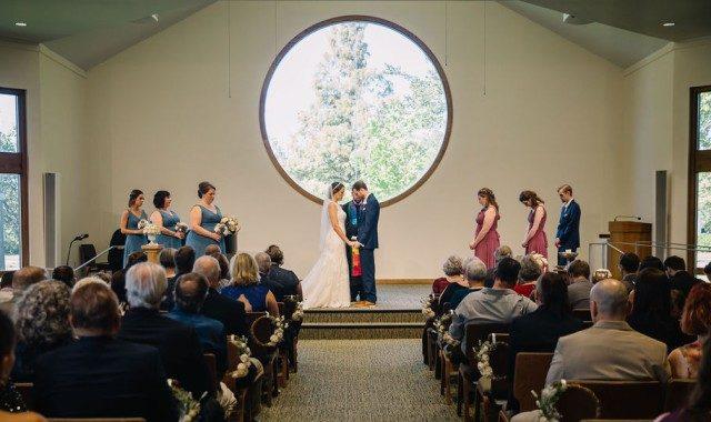 A wedding ceremony in a church