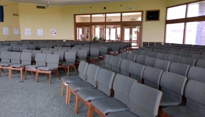 Empty chairs in a sanctuary
