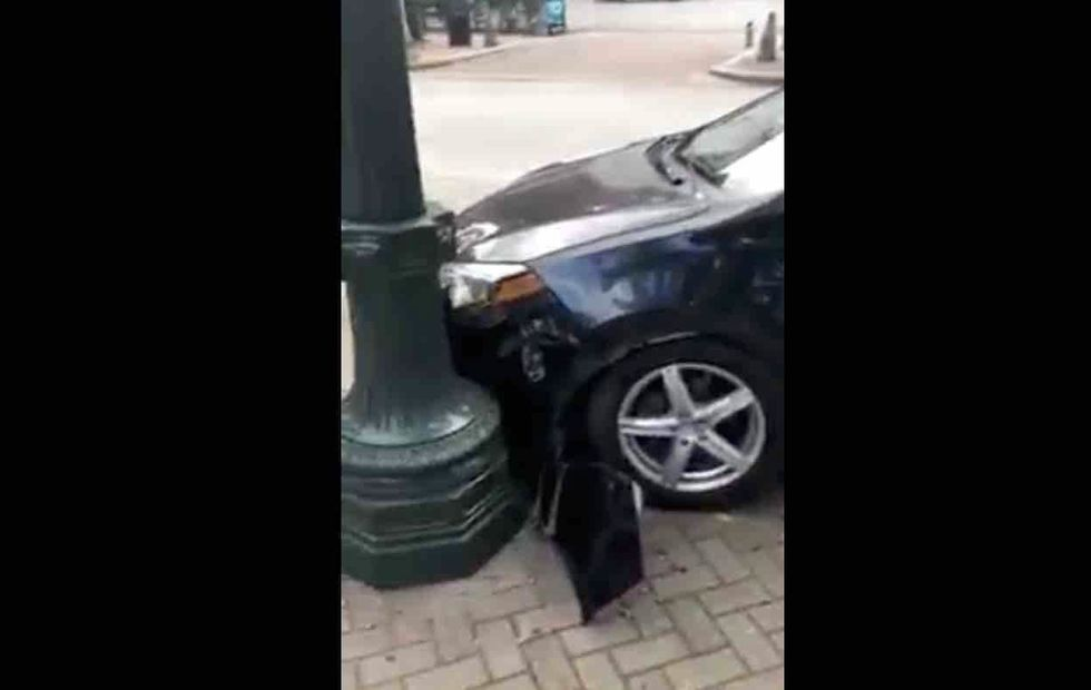 VIDEO: Anti-Trumper curses at Trump-supporters from his car, then crashes