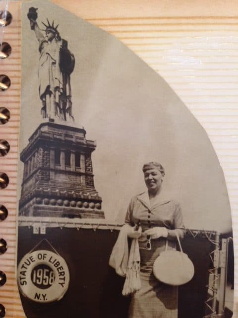 Olga in front of Statue of Liberty