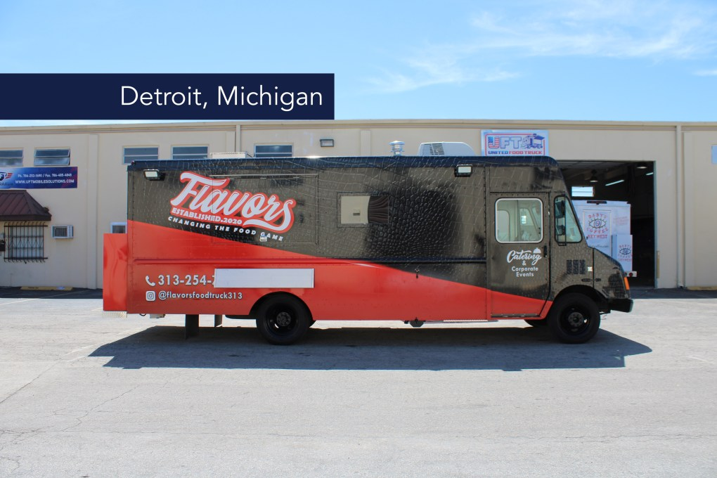 Flavors Food Truck american food black and red