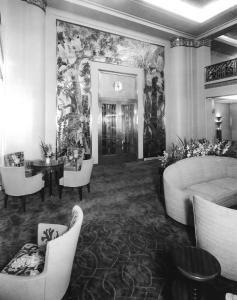 """Charles Baskerville painted portraits of the wealthy and documented the Jazz Age on his drawings for the New Yorker Magazine, but the tropical murals in America's First Class lounge were the sort of work he enjoyed most""Dorothy Marckwald by Sandy McLendon"
