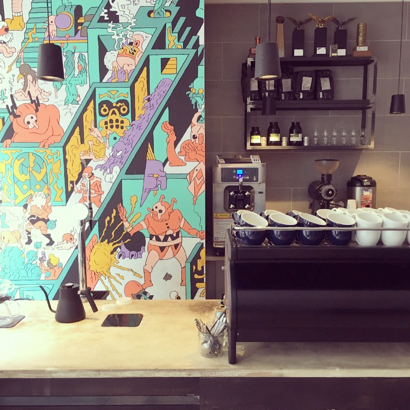 Origin Coffee in Shoreditch has a customised black La Marzocco Strada. The shop is partly a showcase for their wholesale clients.