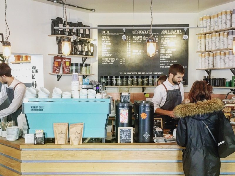 Society Cafe in Bath serves Origin's espresso blend on a customised La Marzocco LineaPB.