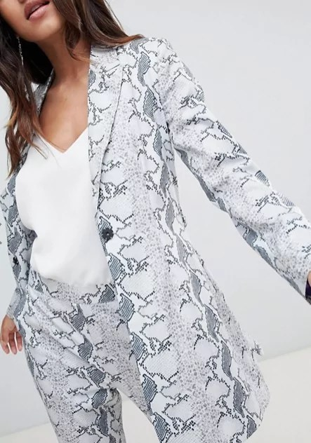 taylor swift reputation tour outfit ideas Unique 21 Longline Blazer In Snake Print Two-Piece asos