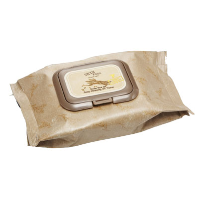 The Skinfood Brown Rice Oil Cleansing Tissue contains nourishing rice for effortless, quick cleansing.