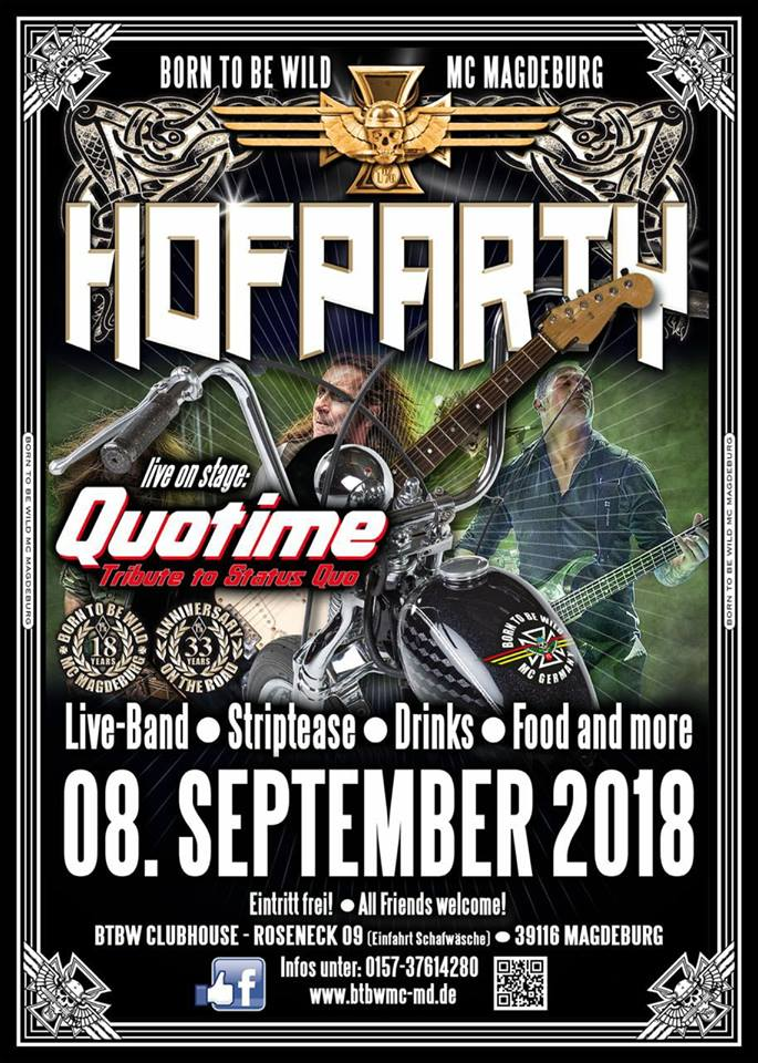 Hofparty 2018 Des Born To Be Wild Mc Magdeburg United Motorcycle Clubs