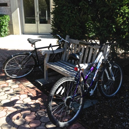 Bikes parked on bench