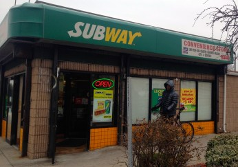 The subway restaurant that many students go to is located outside of campus on, 168 Fulton Ave, Hempstead, NY