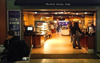 An outside shot of the Student cafe.