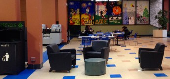 The back of the Cafeteria located in the student center is used more for social gathering rather than eating.