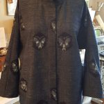 custom jacket for a client sewn from a Japanese Ikat fabric.