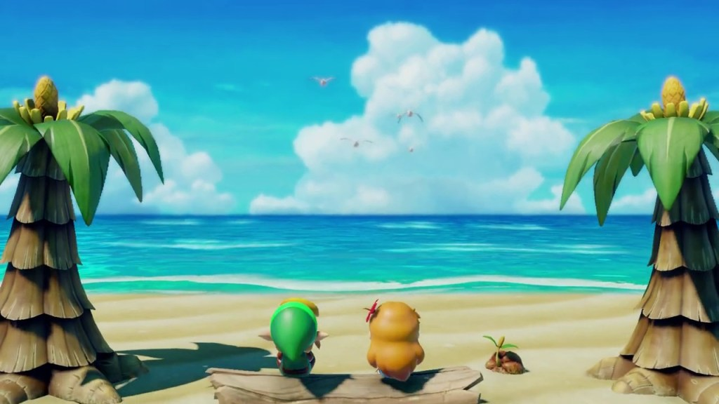 Link and Marin sit on the beach in Link's Awakening for Switch.