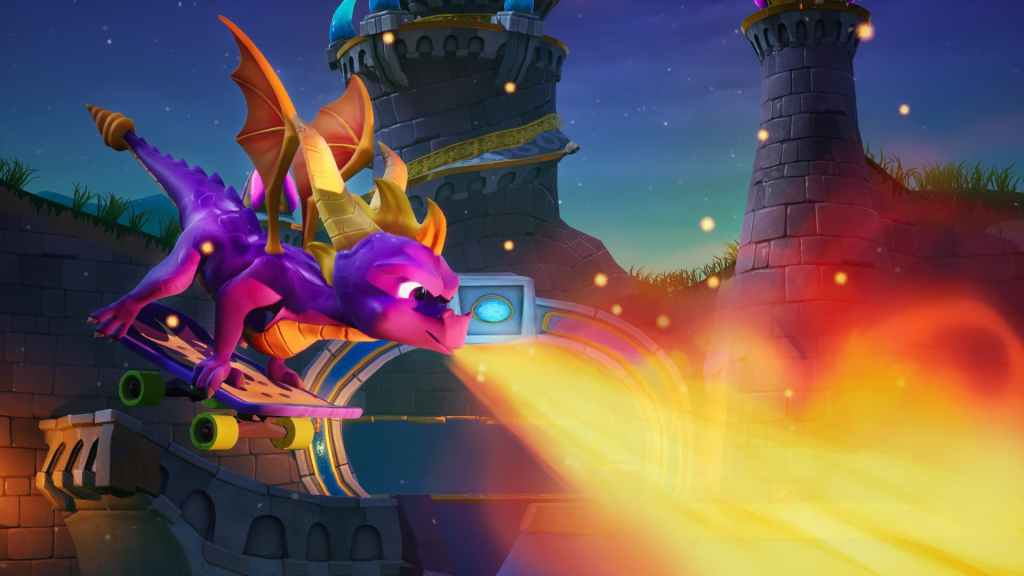 Spyro skateboarding in Spyro Reignited Trilogy on Nintendo Switch.