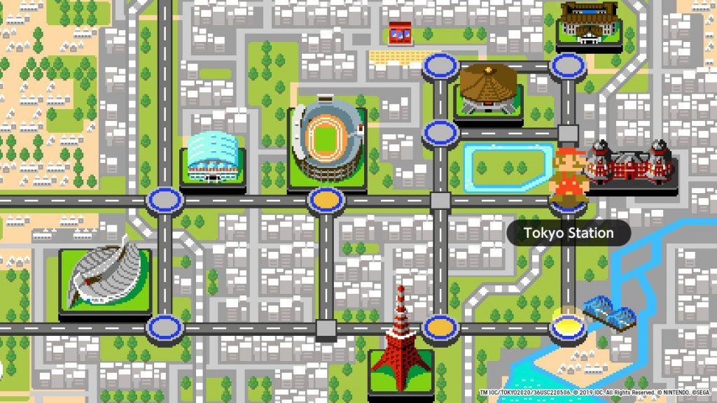The 2D map of Tokyo in Mario & Sonic at the Olympic Games 2020.