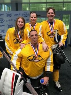 Members of the Hartford Braillers after winning Bronze at the Disabled Hockey Festival in Tampa in April 2019. L-R Sietske Morgan, Keith Haley, Dirk Morgan. Front: Jim Sadecki.