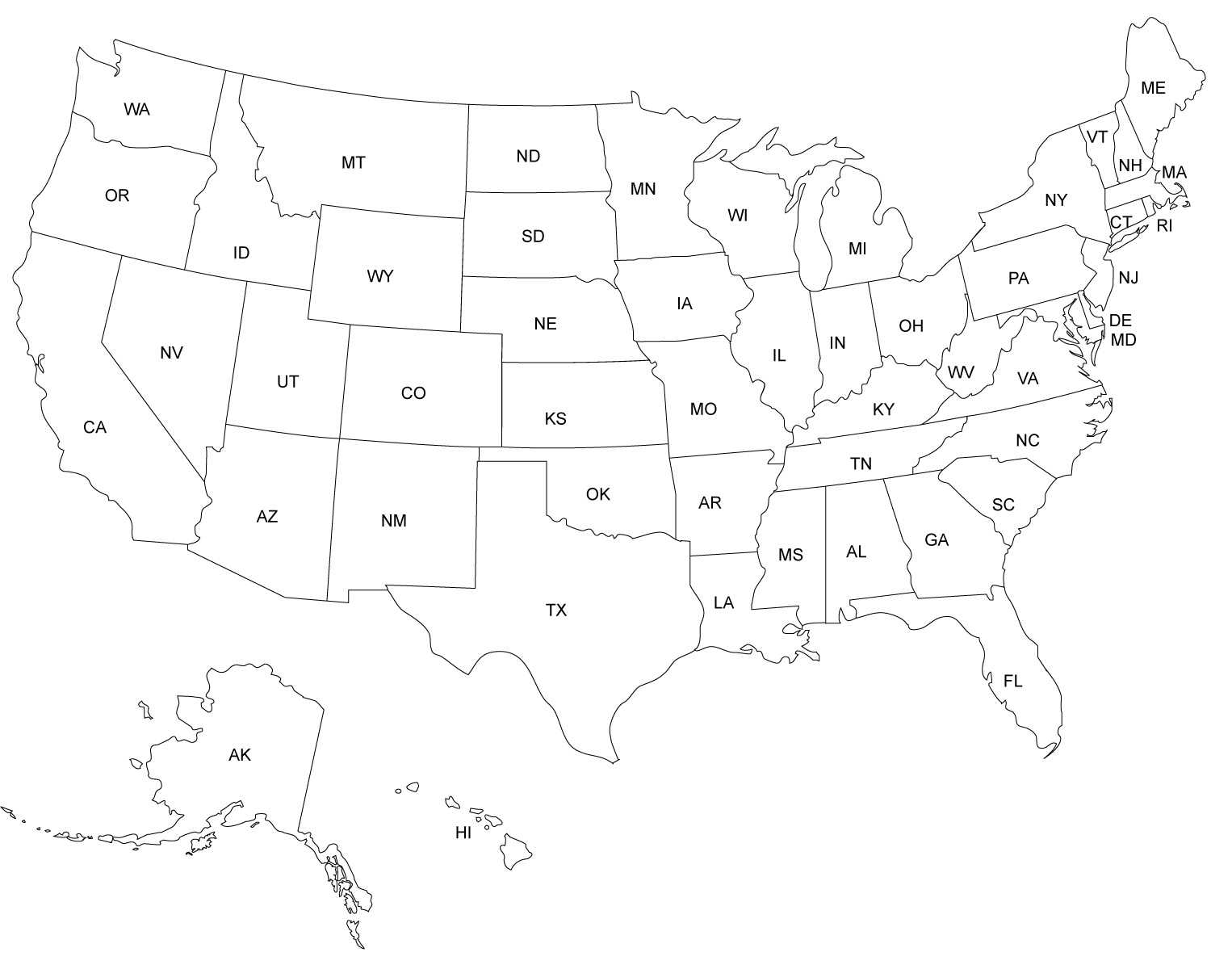 Blank Us Map
