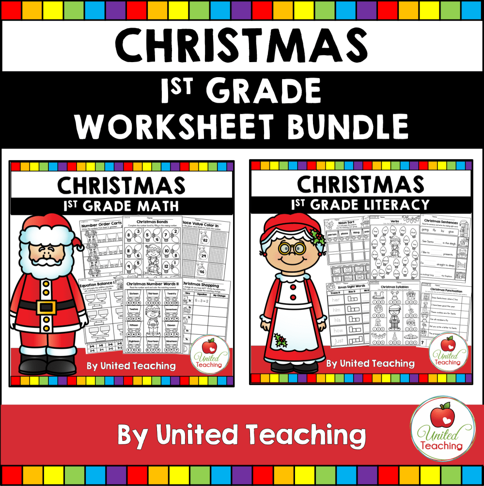 medium resolution of Christmas Math and Literacy 1st Grade No Prep Activities