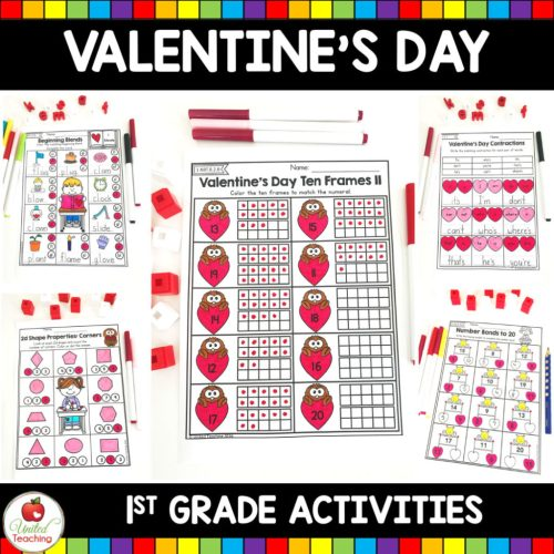 small resolution of Valentine's Day Math and Literacy 1st Grade No Prep Activities