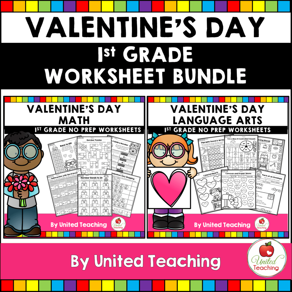 Valentine S Day Math And Literacy 1st Grade No Prep Activities