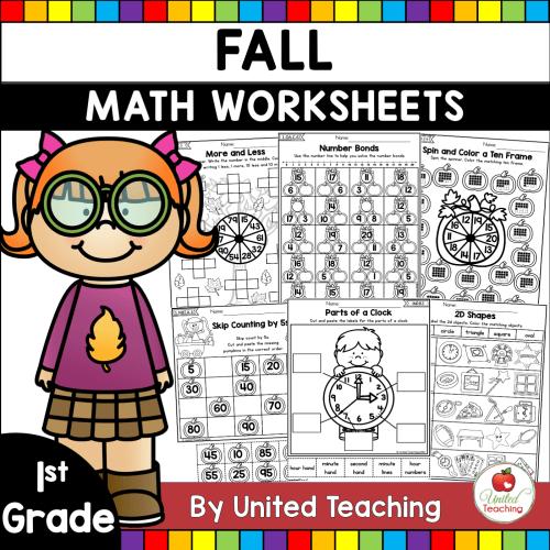 small resolution of Fall Math Activities (1st Grade) - United Teaching