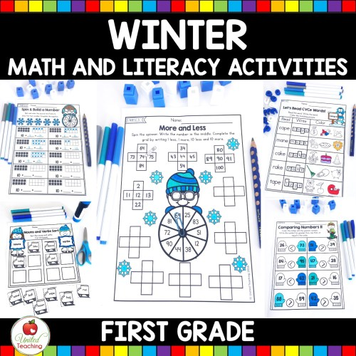small resolution of Winter Math and Literacy 1st Grade No Prep Activities