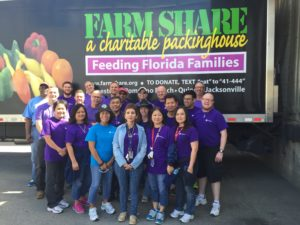 GE volunteers sorted food for distribution at Farm Share of Northeast Florida.