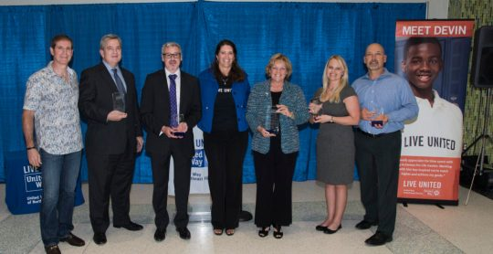 Representatives from Million Dollar Circle Companies received awards from United Way of Northeast Florida President and CEO Michelle Braun and 2015 Campaign Chair Russ Thomas.
