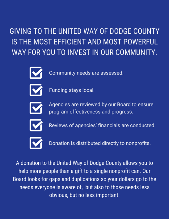 United Way of Dodge County donations