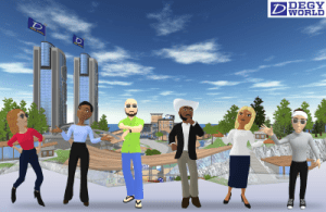 3D avatars stand in the virtual space of Degy World