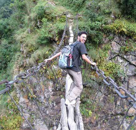 a dangerous suspension bridge near Keyul