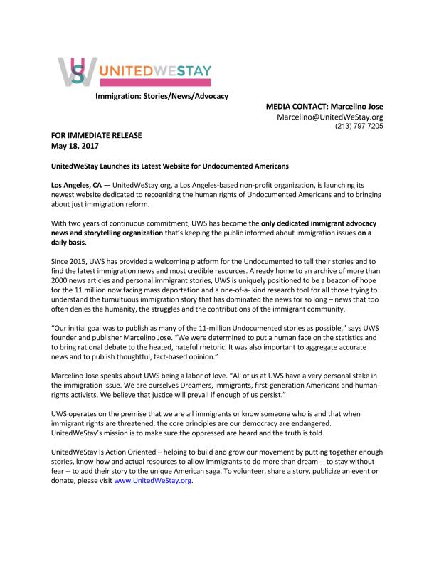 UWS 2017 Launch Press Release ENGLISH