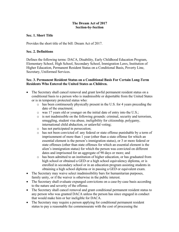 The Dream Act of 2017 section by section_Page_1
