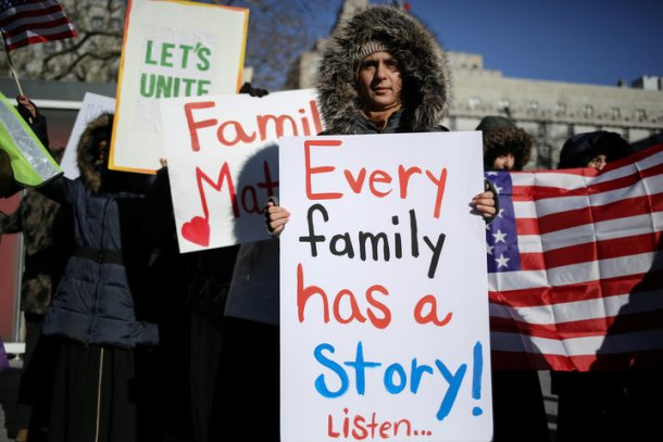 New York Yemeni Americans demonstrate in response to U.S. President Donald Trump's travel ban and recent denials of visa applications in Foley Square in lower Manhattan in New York City