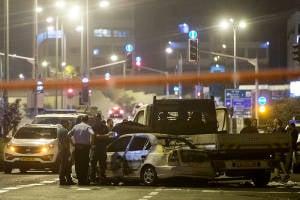The scene of the firebomb attack. (Yonatan Sindel/Flash90)