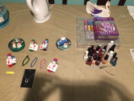 Nail polish and game prizes ready for the girl's sleepover