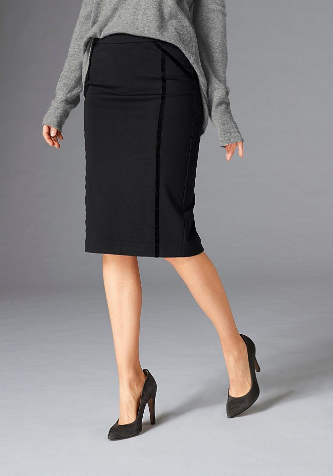 GUIDO MARIA KRETSCHMER úzká sukně se sametovými pruhy
