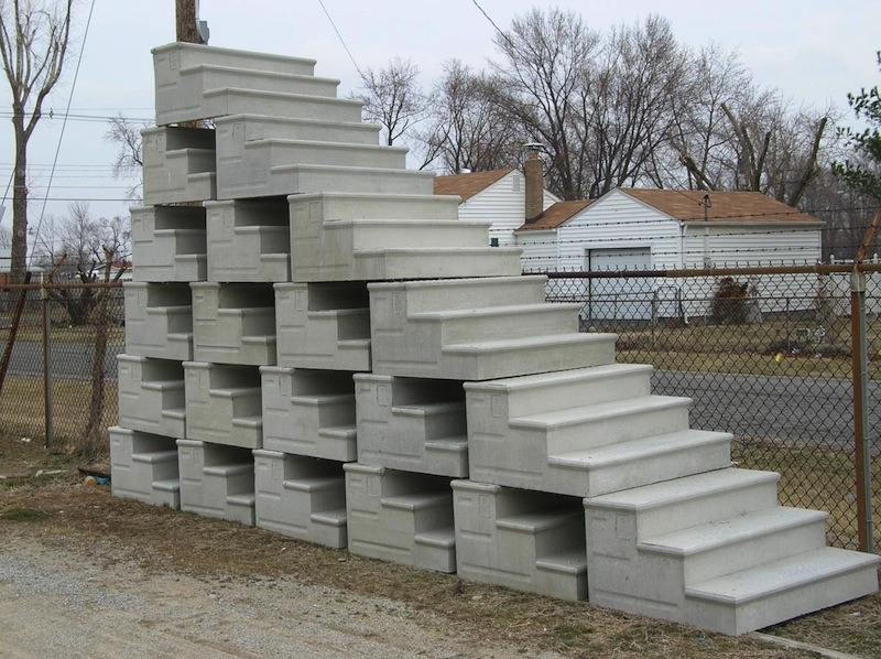 Unit Step Company – For Concrete Precast Steps And Ornamental Iron | Ready Made Outdoor Steps | Inexpensive | Single | Grey Composite Decking | Wooden | Support