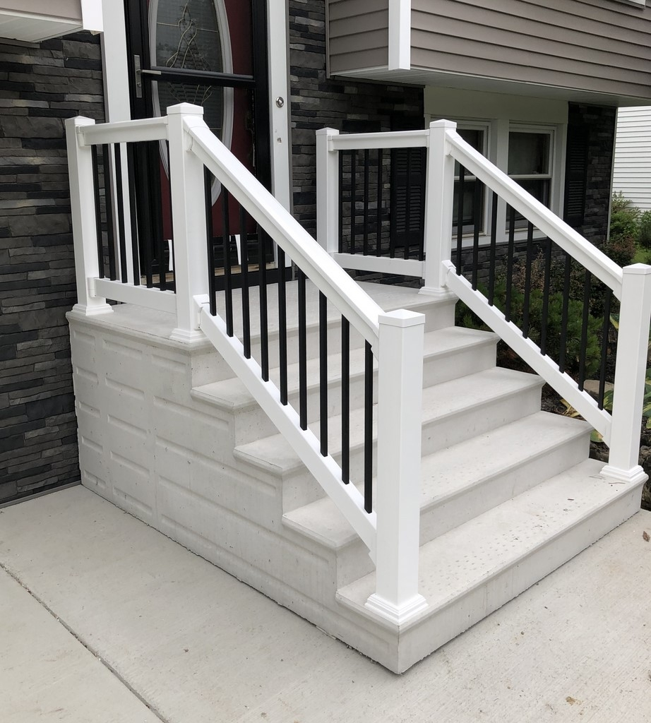 Photo Gallery Precast Concrete Steps And Iron Vinyl Railing   Handrails For Concrete Steps   Deck Stair   Ada   Wood   7 Hand   Concrete Entrance