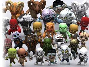 3DRT Chibii monsters demons for free (unityassets4free)