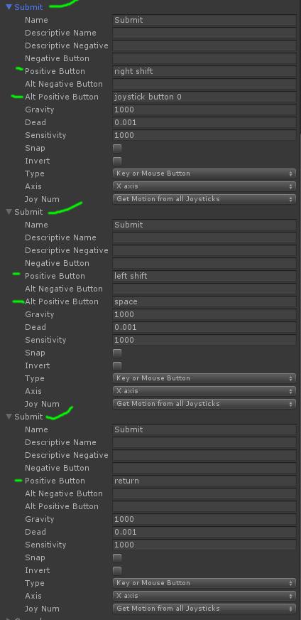 Adding Multiple Submit Keys to Input Manager « Unity Coding – Unity3D