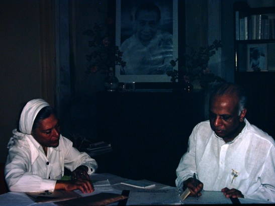 Seyril, with Navajata in Pondy, about 1973-4; photo by Sally