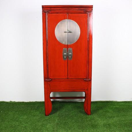 armoire chinoise patine rouge et noir l84 g867