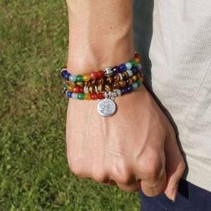 Bracelet Mala de guérisondes 7 Chakras en œil de tigre - L'univers-karma
