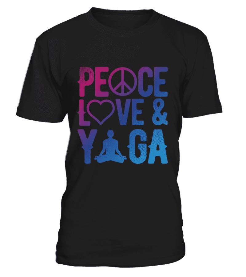 """T Shirt """"Peace, Love & Yoga"""" Pour homme - L'univers-karma"""
