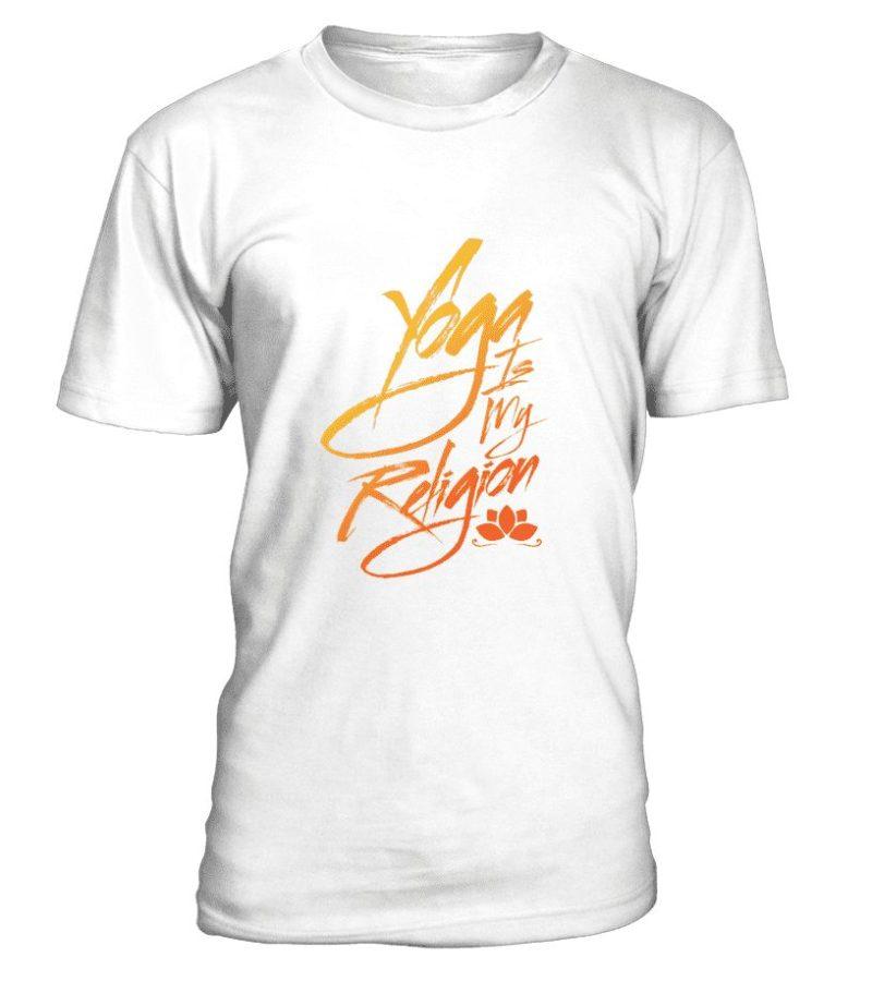 """T Shirt """"Yoga is my religion"""" Pour homme - L'univers-karma"""