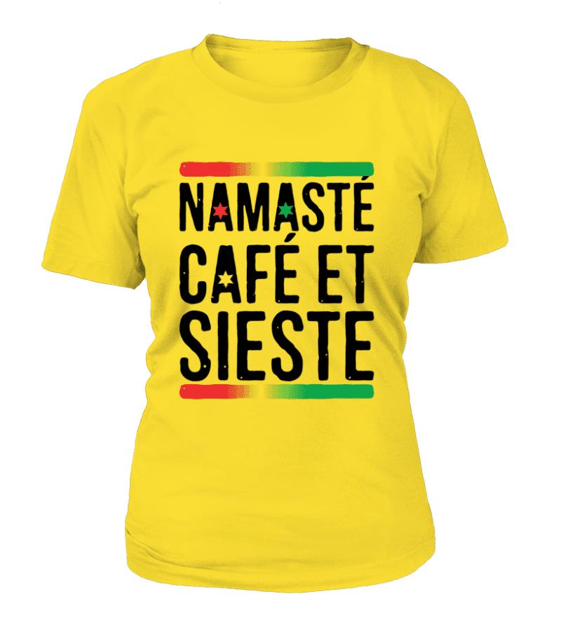 """T-shirt Femme """"Namasté, café et sieste"""" - L'univers-karma"""